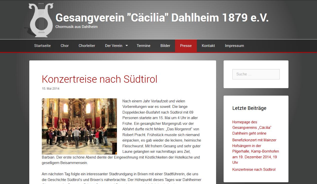 """Homepage des Gesangvereins """"Cäcilia"""" Dahlheim geht online"""
